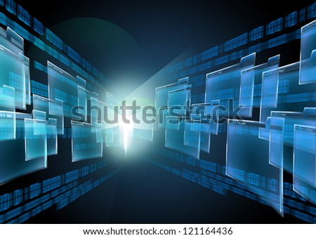 Abstract illustrations on the Internet and technology. The group leaving browser windows into the distance - stock photo