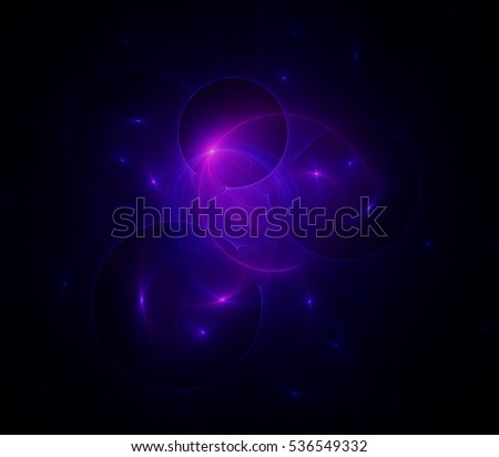 Abstract image generating computer graphics. Cosmos, flames, physical phenomena, nuclear and chemical interactions, nature and medicine ideas.