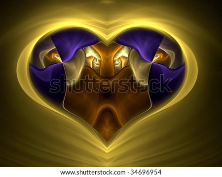Abstract image in the shape of a heart with a lions head and two lionesses facing each other if you look closely. Could be used as a different kind of Valentine's Day greeting or birthday card. - stock photo