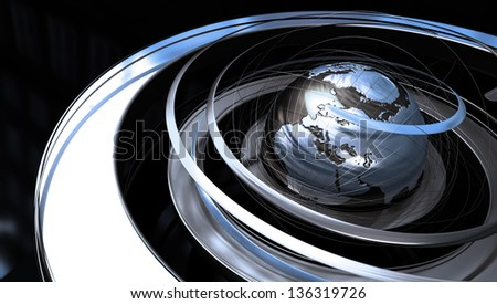 Abstract image of a world globe with spiral orbit in silver texture - stock photo