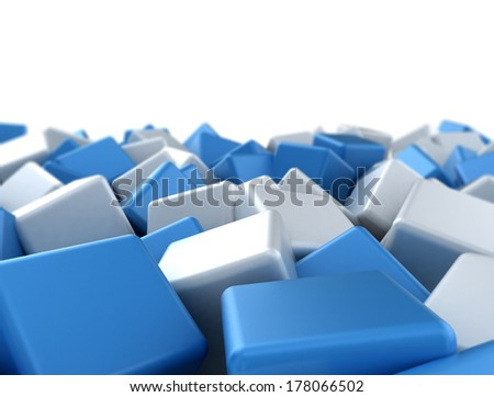 abstract image of blue and white cubes background - stock photo