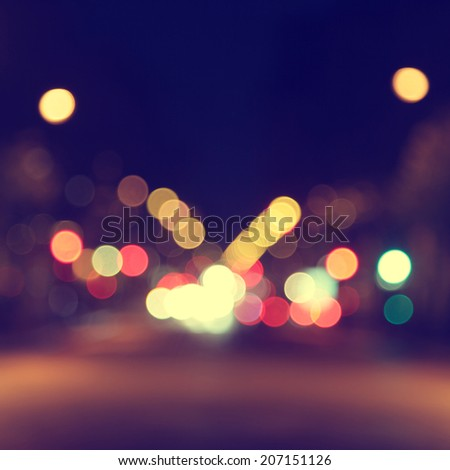 Abstract image of bokeh lights in the city. - stock photo