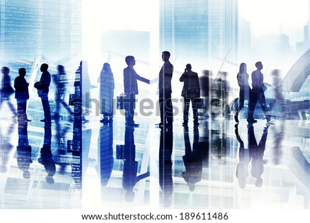 Abstract Image of Business Handshake in a Cityscape - stock photo