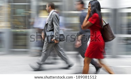 abstract image of business people in the street and modern style with a blurred background - stock photo