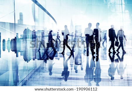 Abstract Image of Business People's Busy Life - stock photo