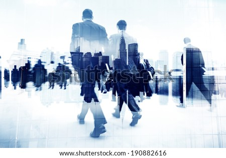 Abstract Image of Business People Walking on the Street - stock photo