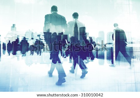 Abstract Image of Business People Walking on the Street Concept - stock photo