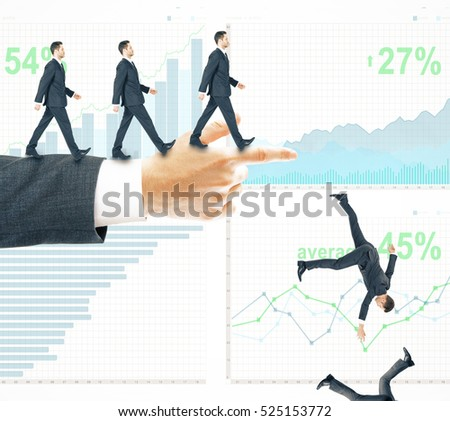 Abstract image of businessmen walking and falling off pointing hand on business chart background. Risk and failure concept