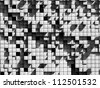 abstract image of cubes background in black and white toned - stock photo
