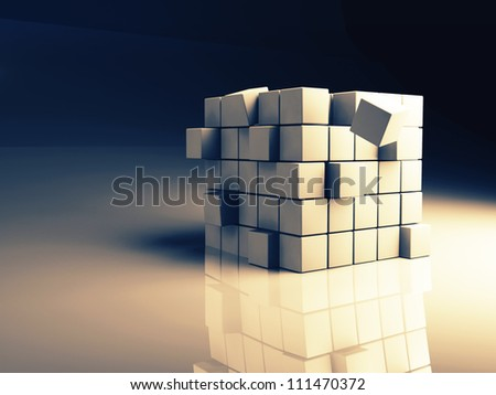 abstract image of cubes background in blue and yellow  toned - stock photo