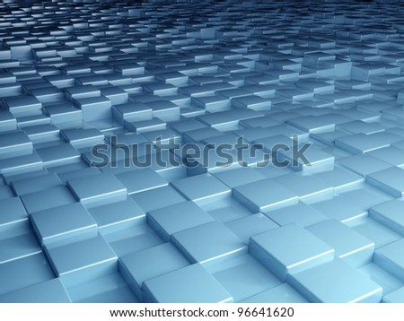 abstract image of cubes background in blue toned - stock photo