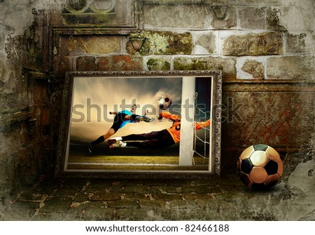 Abstract image of football player on the grunge background - stock photo
