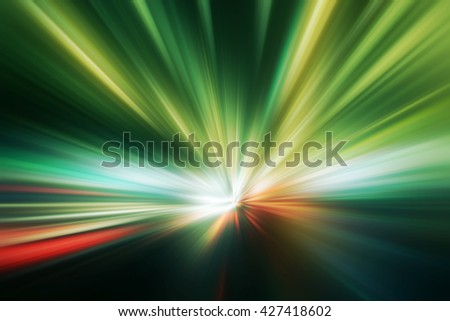 Abstract image of high speed on night road. - stock photo