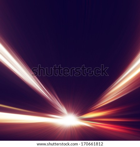 Abstract image of high speed on the night road in tunnel. - stock photo