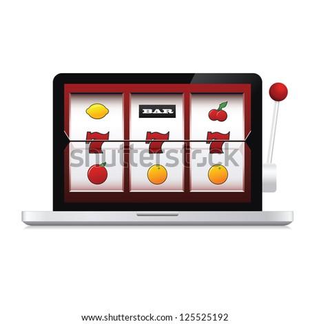 Abstract image of laptop online casino slot machine - stock photo