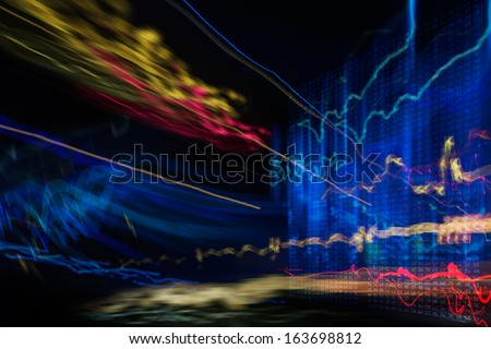 abstract image of Light traces. visualization of hacker attacks on information dadaserver - stock photo