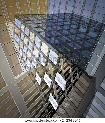 Abstract image of office building in blue and beige