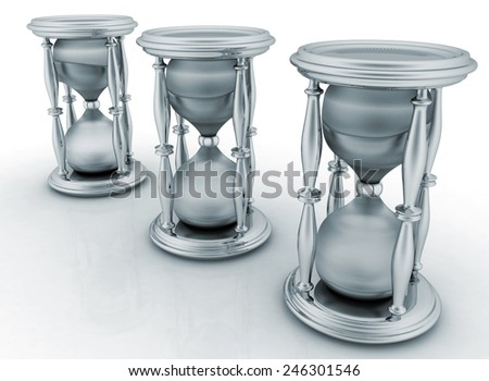 Abstract image of sand-glasses on a white background