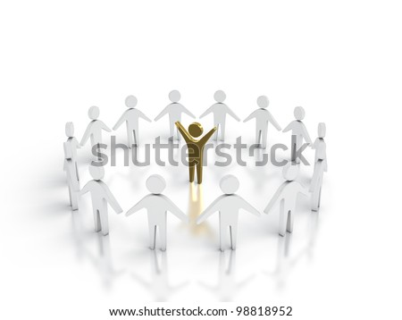 Abstract image of team leader surrounded by peaople.