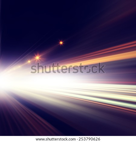 Abstract image of traffic lights in the city at night. - stock photo