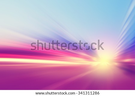 Abstract image of traffic lights with motion blur in the city. - stock photo