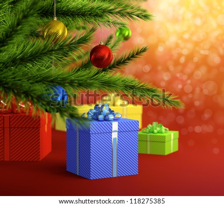 Abstract image on Christmas theme with christmas balls tree and gift boxes