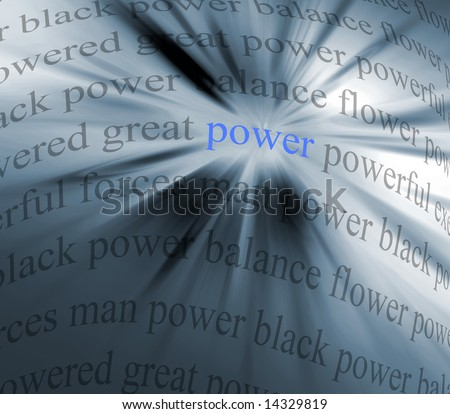 Abstract image using words relating to 'power'