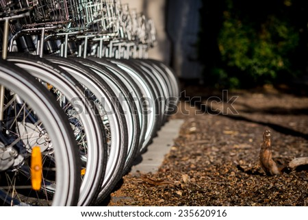 Abstract images of city bikes, Brisbane, Australia - stock photo
