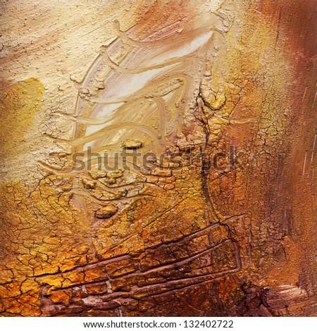 abstract impasto cracked painting - acrylic und oil paints mixed media grunge - stock photo