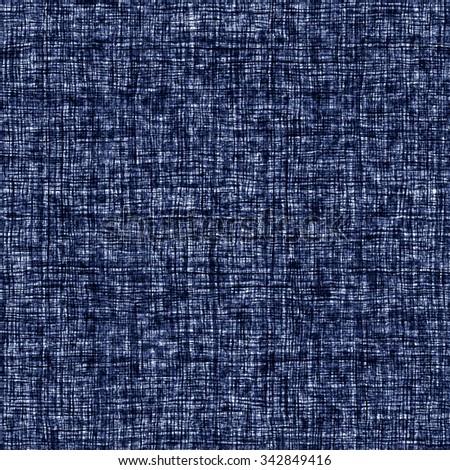 Abstract indigo dyed irregular cross stroke. Seamless pattern. - stock photo
