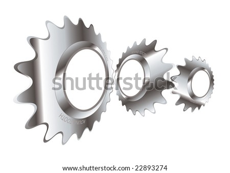 Abstract industrial design with a metal cog logo - stock photo