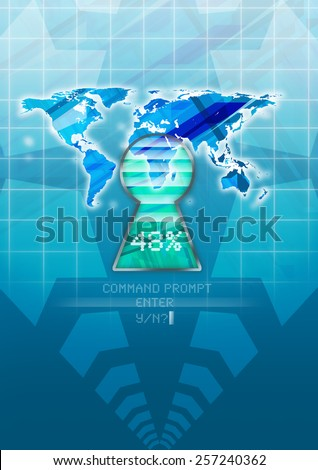 Abstract information technology vertical poster magazine stock abstract information technology vertical poster or magazine cover design with world map and keyhole for many gumiabroncs Choice Image