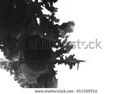 Abstract ink background. Marble style. Black, white ink in water.