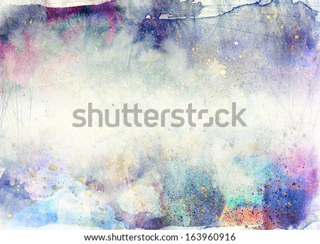abstract ink painting with brush strokes - grunge background - stock photo