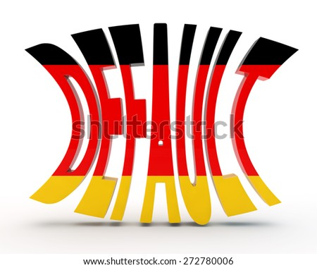 """abstract inscription """"default"""" with a flag of Germany - stock photo"""