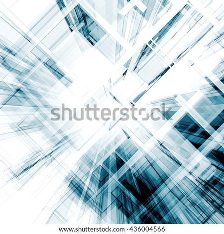Abstract interior. Architecture design and model my own. 3D rendering - stock photo