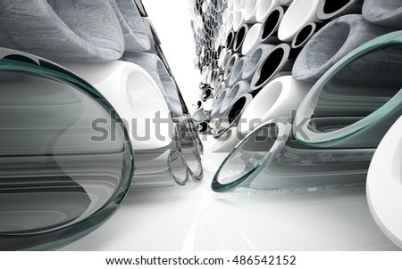 Abstract interior array of pipes made of different materials. Architectural background. 3D illustration and rendering
