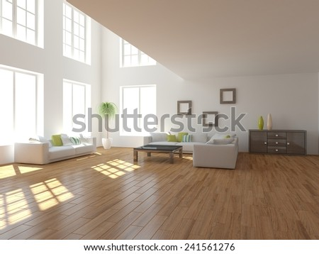 abstract interior design-3D rendering - stock photo