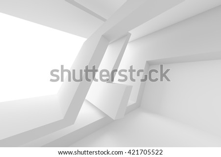 Abstract Interior Design. White Modern Background. 3d Illustration of Modern Architecture Concept - stock photo