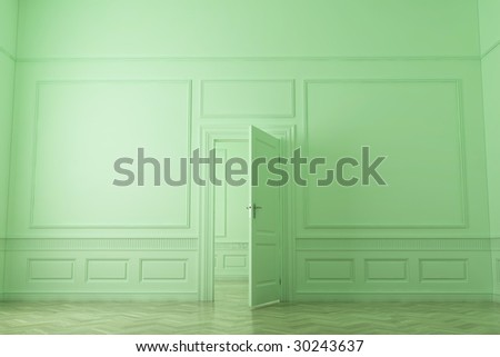 Abstract interior, executed in green.