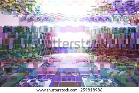 Abstract interior of colored glass blocks