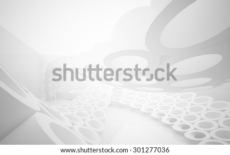 Abstract interior of the array of rings. 3D illustration. 3D rendering