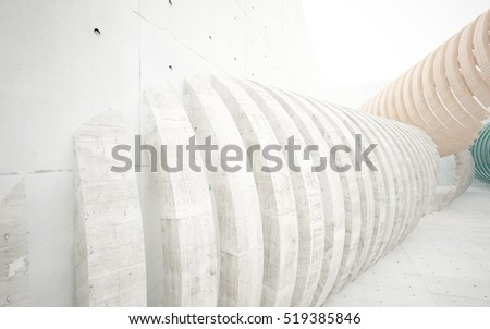 Abstract interior of the future in a minimalist style, consisting of structure concrete, wood and glass arcs. Architectural background. 3D illustration. 3D rendering
