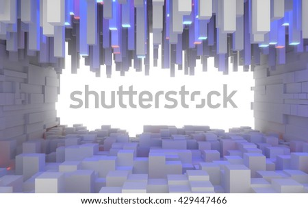 Abstract interior space made of extruded box shaped blocks illuminated by blue light. 3d rendering - stock photo