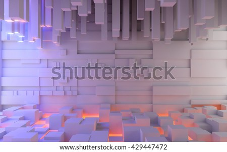 Abstract interior space made of extruded box-shaped blocks illuminated by colored lights. 3d rendering - stock photo