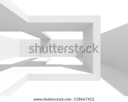 Abstract Interior White Architecture Background. 3d Render Illustration