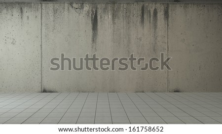 abstract interior with dark gray concrete wall and tiled flooring
