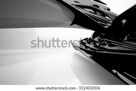 Abstract interior with glossy black sculpture