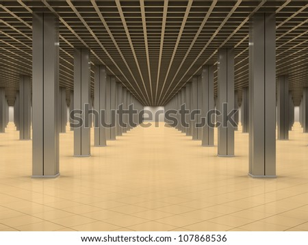 Abstract interior with metal columns and tiled floor