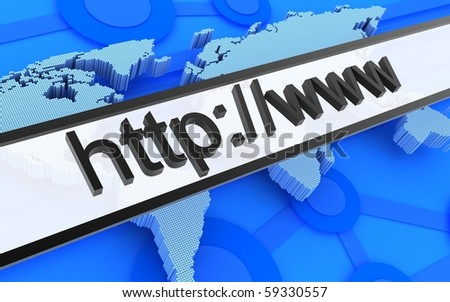 Abstract Internet address and earth background (done in 3d) - stock photo
